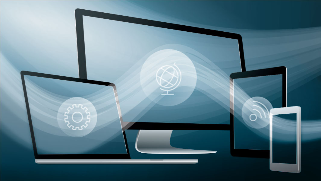 Image of a computer monitor, laptop computer, tablet and smartphone