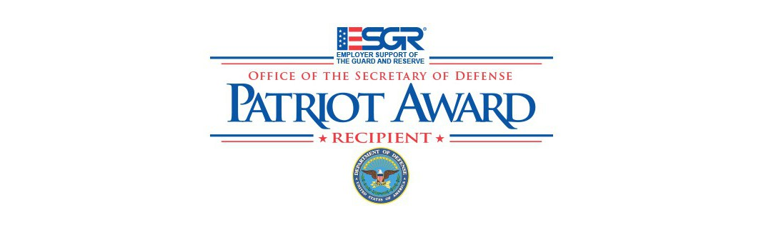 Employer Support of the Guard and Reserve logo plus the text Office of the Secretary of Defense Patriot Award Recipient