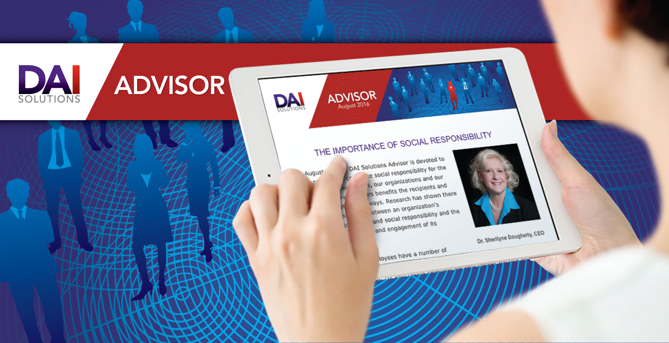 DAI Advisor header plus picture of the newsletter on a tablet computer