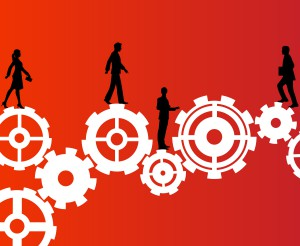 Silhouette image of business people walking over gears