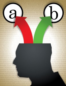 """Illustration of a head with green and red arrows coming out pointing to """"a"""" and """"b"""" options."""
