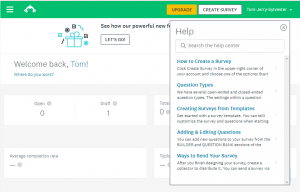 Screen shot showing contextual help window on SurveyMonkey.com
