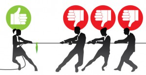 Illustration of a tug of war with people in business clothes