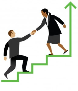 Illustration of a business woman helping a business man up a staircase. The staircase is also an upward line on a graph.
